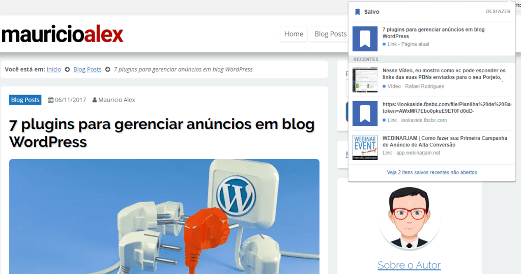 Extensão Google Chrome Save To Facebook