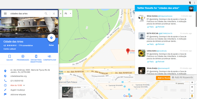 Extensão Google Chrome Hootlet Maps