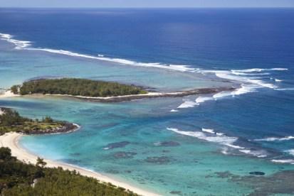 Front aerial view of Ile aux deux cocos Mauritius