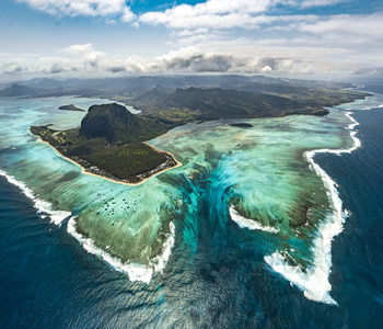 Aerial view of Le Morne and the under water waterfall illusion