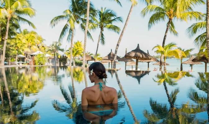 Cooling off in the infinity pool at the Royal Palm Hotel Mauritius