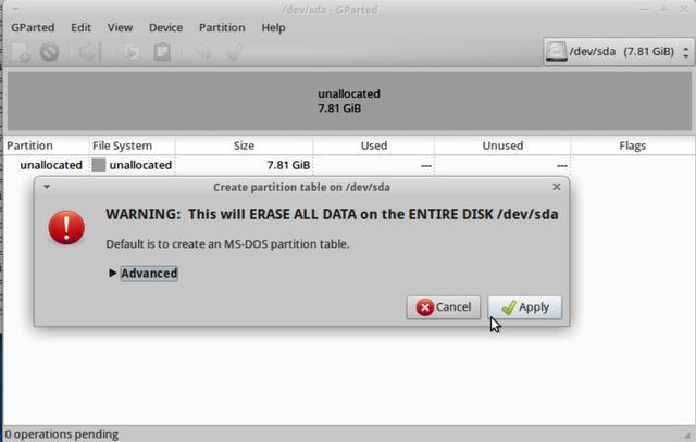 Creazione della partition table