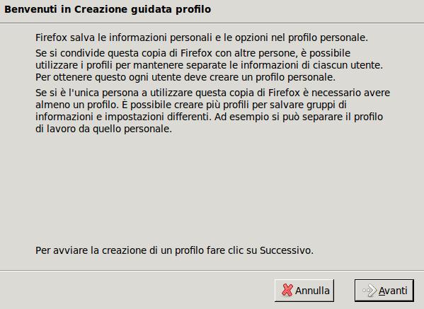 Creazione nuovo profilo