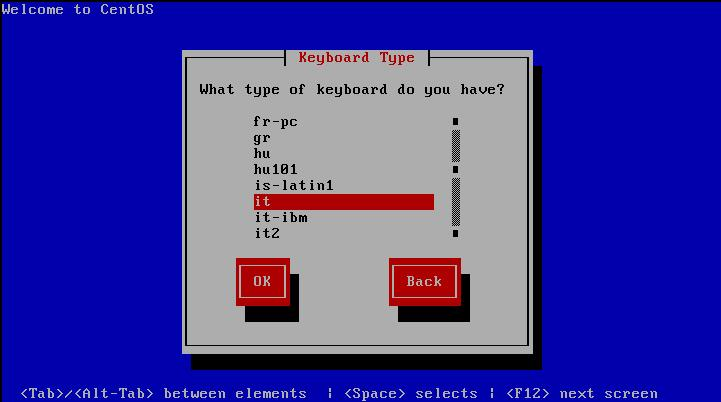 Centos 5 - Choose Keyboard type