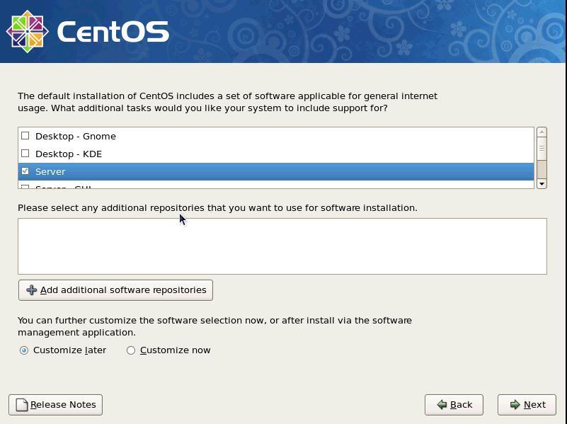 Centos 5.9 selezionare il set di software