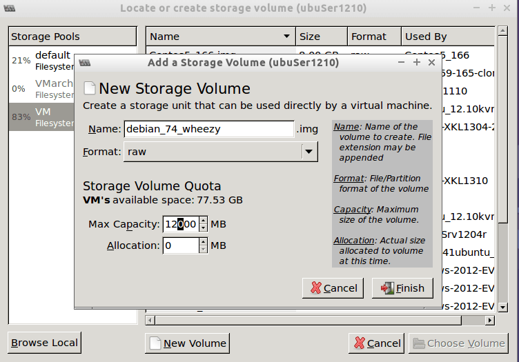 creare New image disk for VM