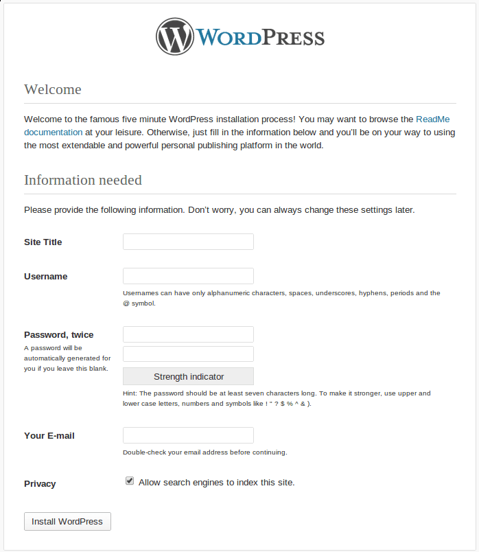 wordpress 3.5 start