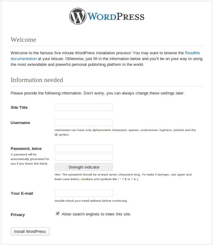 wordpress 3.5 start