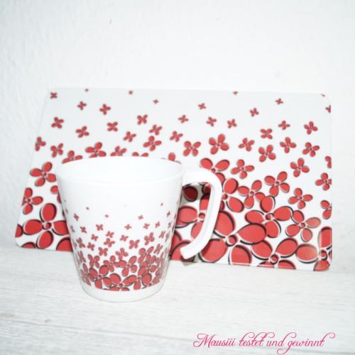 Set Tasse und Brettchen Heartbeat Love Flowers