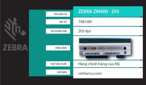 đầu nhiệt Zebra ZM400 203 DPI