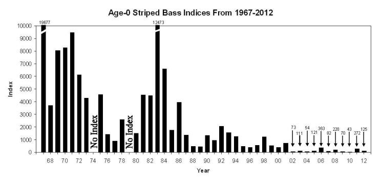 Age-0 Striped Bass Indices, 2967-2012, Fall Midwater Trawl