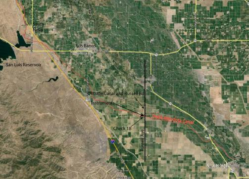 Map of water conveyance infrastructure in California, Location of impacted area, and Map explanation/key.