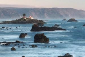 Lighthouse on an island Central Coast BLM photo