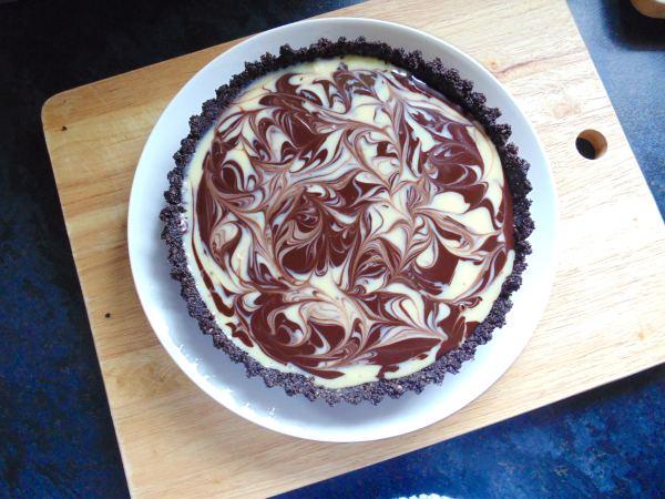 no bake double chocolate oreo tart