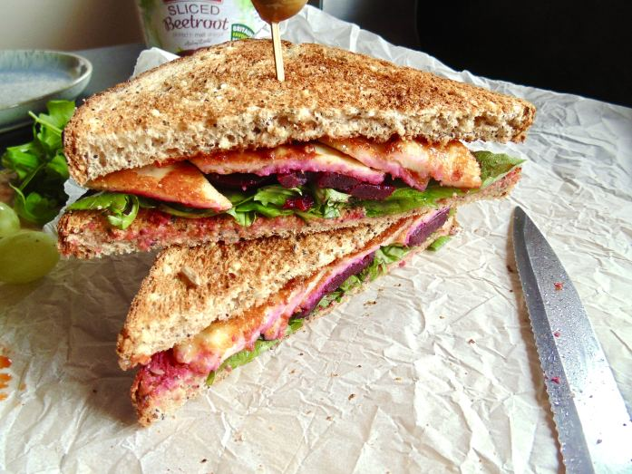 Grilled Halloumi Beetroot Sweet Chilli Sandwich