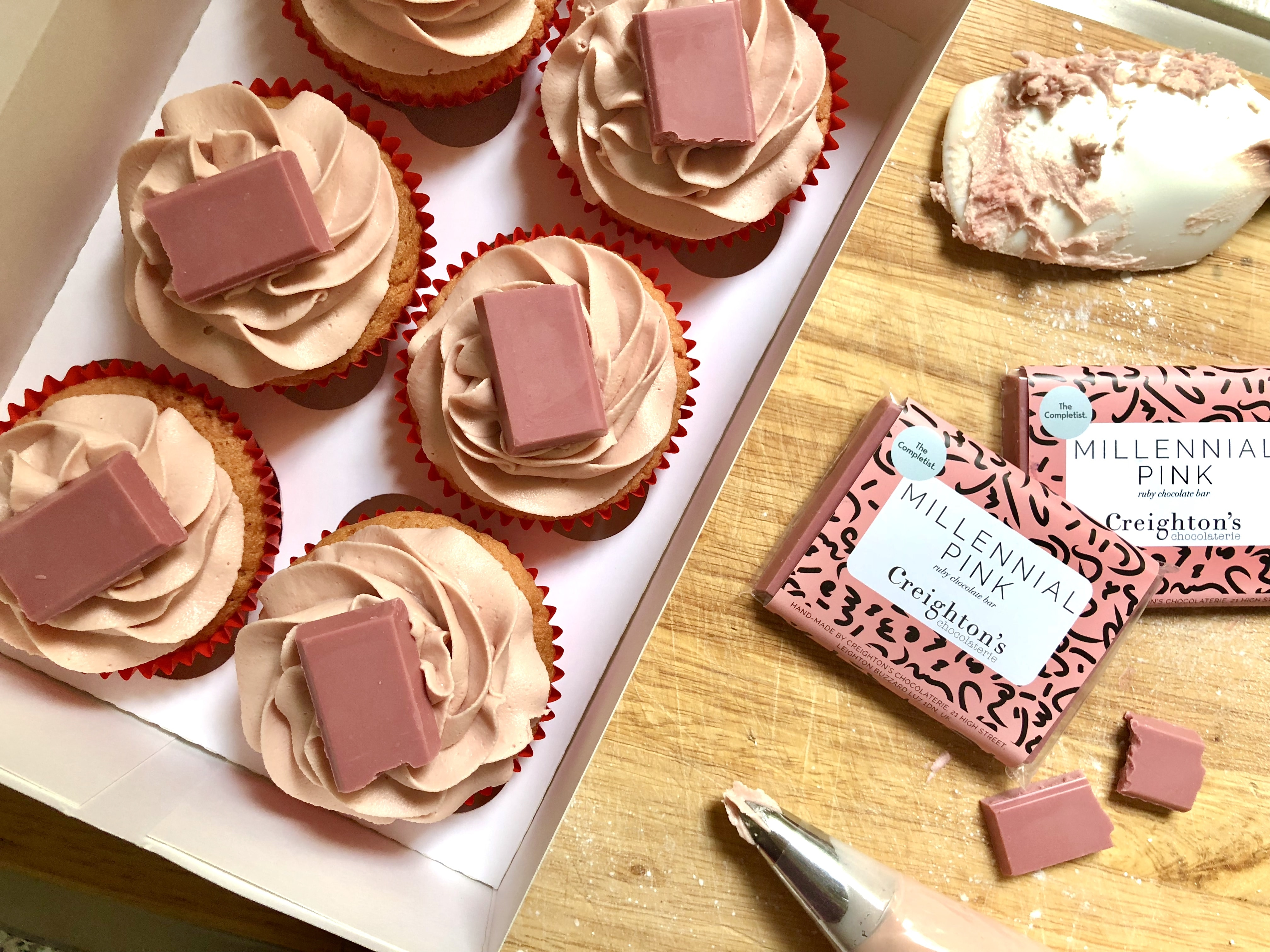 Ruby Chocolate Cupcakes - Baking with Ruby Chocolate