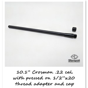 .22 caliber Crosman 10.1″ barrel with 1/2″ x 20 threads and screw on protector cap