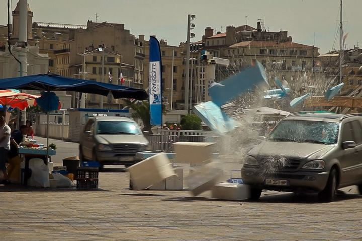 The Transporter - car driving through market - smashing things