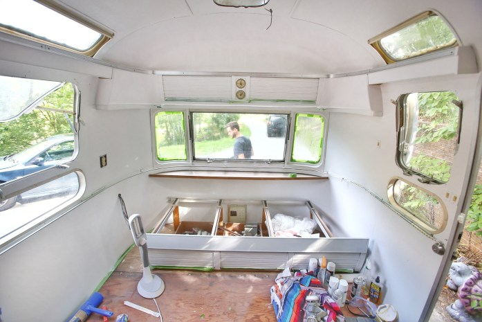 Painting The Interior Of A Vintage Airstream Mavis The Airstream Awesome Airstream Interior Design Painting