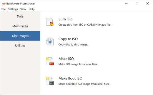 BurnAware Pro User Interface