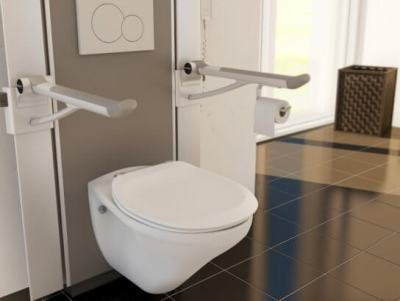 adjustable toilet with support arms