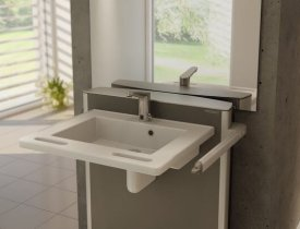 adjustable sink with hand holds