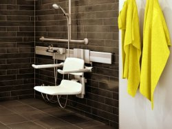 adjustable shower seat mounted to horizontal wall track