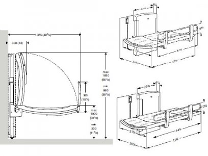 Pressalit Care 3000 adult changing table dimensions