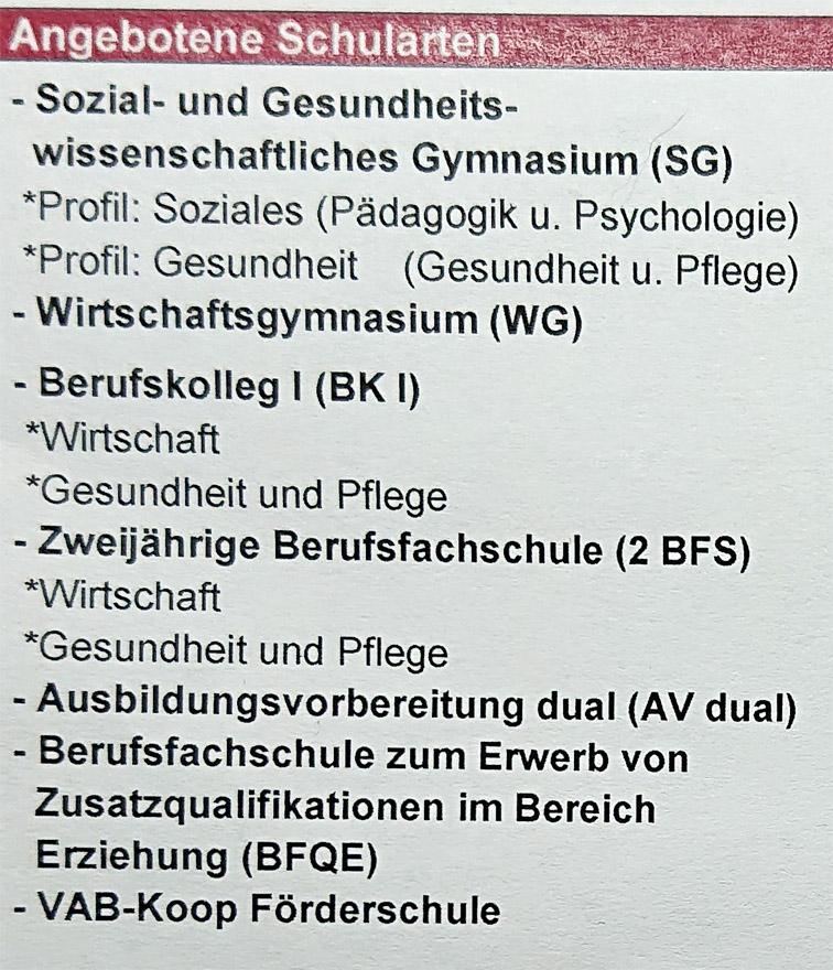 Angebotene Schularten