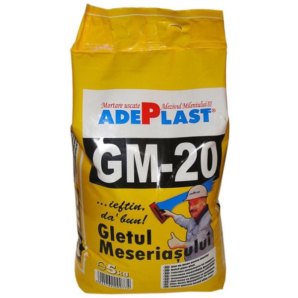 Gletul meseriasului pe baza de ipsos, Adeplast GM-20, pentru interior, 5 kg