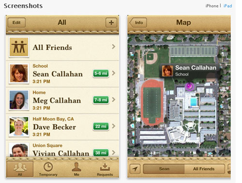 FINDING PEOPLE. The Find My Friends app for the iPhone allows people to share location data with friends.
