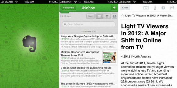 EVERNOTE. The Evernote applications for iOS and Android allow you to manage your notes on the go.