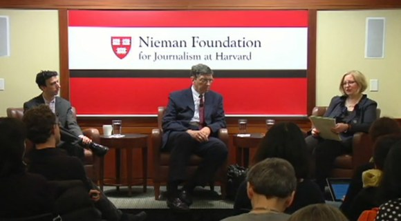 David Skok, Clay Christensen and Nieman Foundation curator Ann Marie Lipinski during their discussion disruptive innovation and journalism. (Screen grab from NiemanLab website)