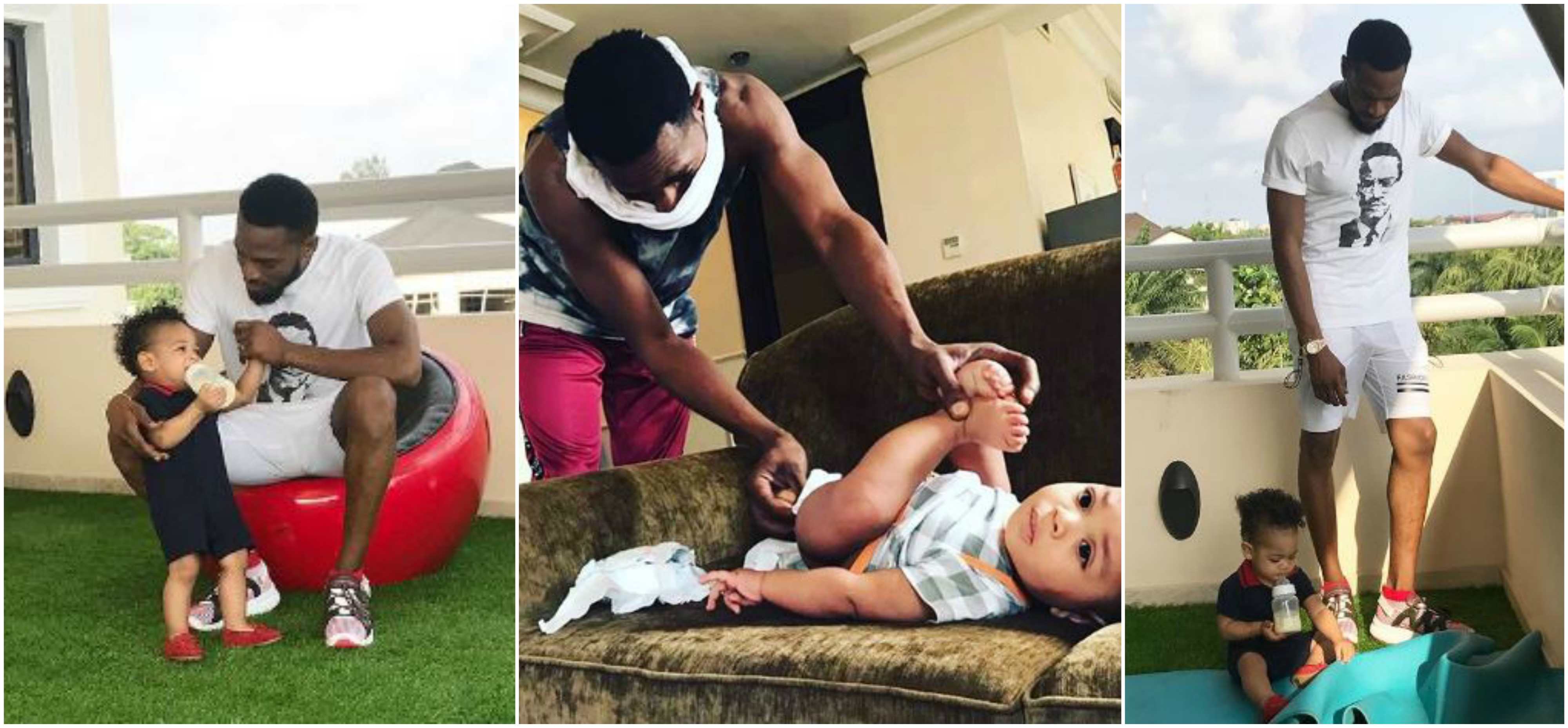 Dbanj Shares Photo Of Himself Changing His Son's Diaper