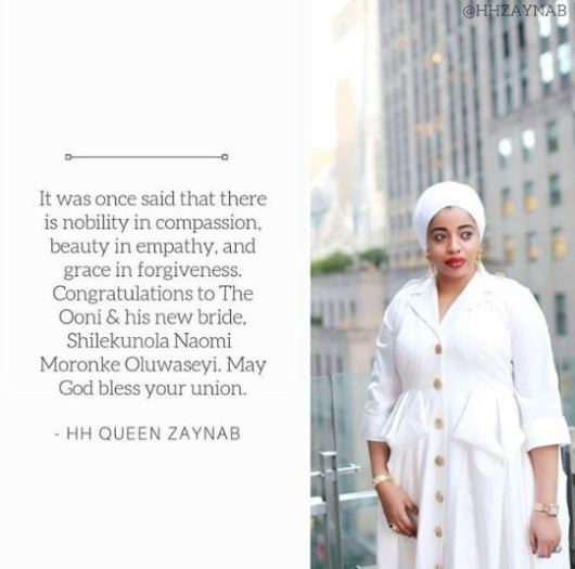 Ooni's Former Wife, Zaynab, Congratulates Him On New Marriage