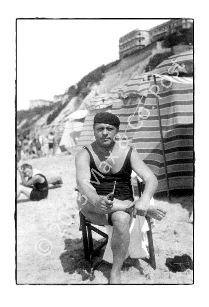 Black And White Postcard From >> Muscle Man B W Beach Postcard Max Co Post