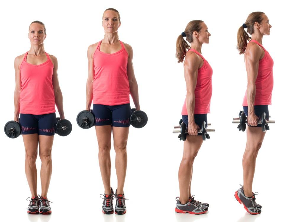 カーフレイズをやる女性 正面と横の動作