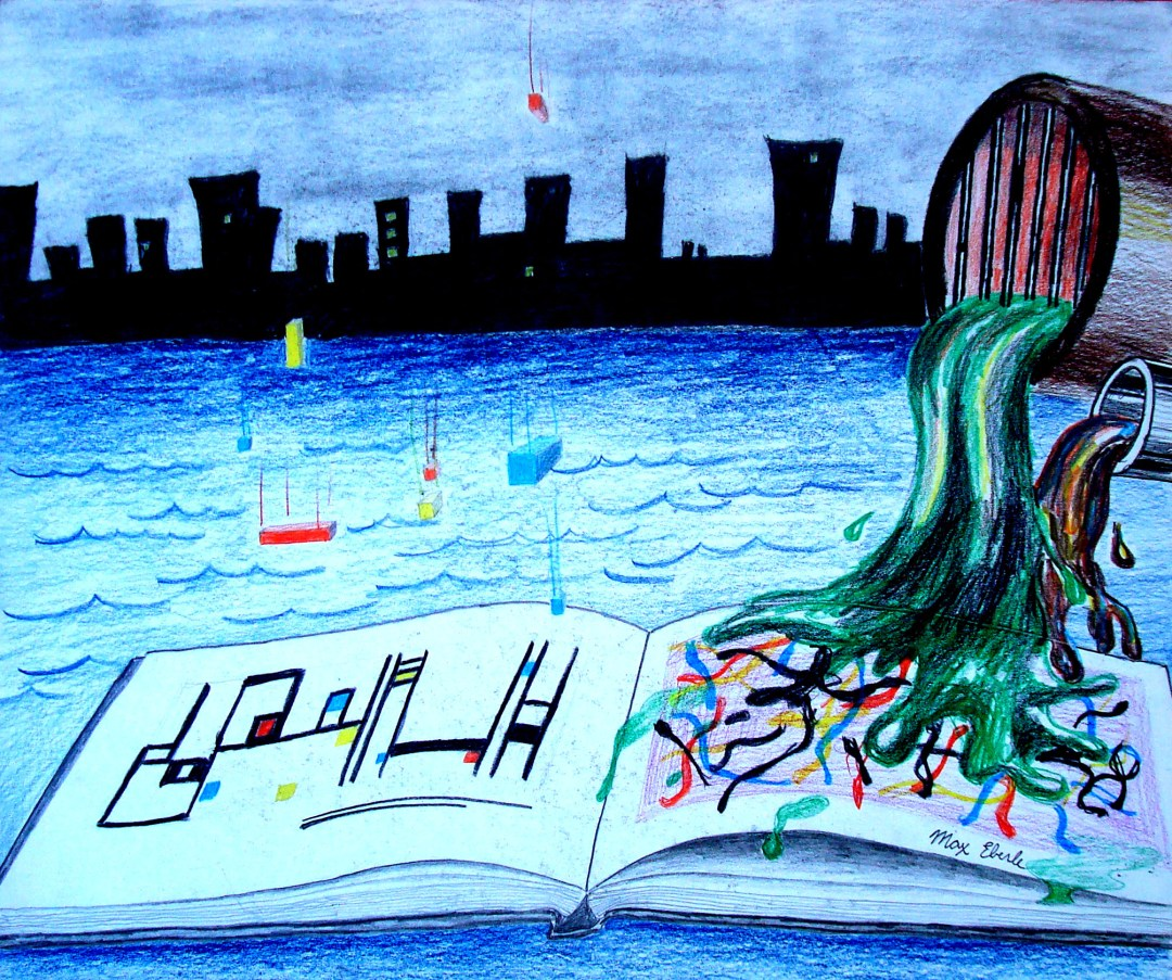 Art History In The Making artwork by Max Eberle, 17 by 24 inches, colored pencil and pastel