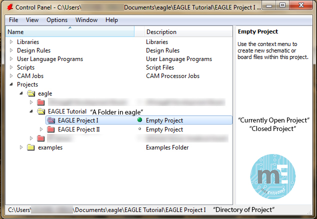 EAGLE Project Control Panel