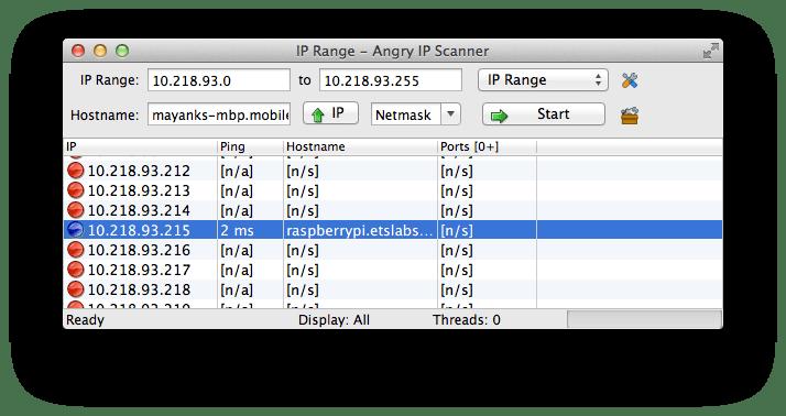 Angry IP Scanner Result - Mac/Linux