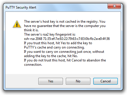 PuTTy Security Alert - Windows
