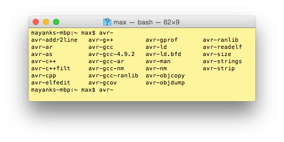 avr-gcc tools installed on Mac