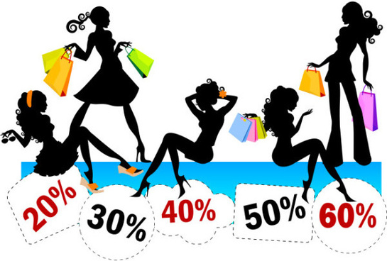 stylish_shopping_girl_with_big_sale_vector_544001