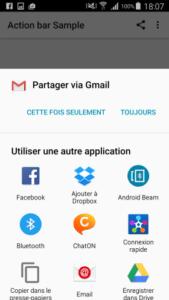 ActionBar exemple 2 : partage sur les réseaux sociaux
