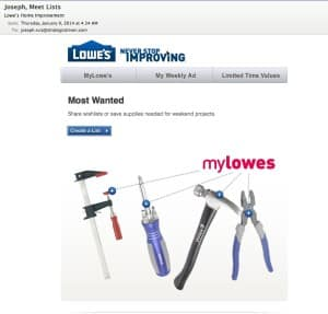 How Lowe's is Sustaining Customer Relationships SoLoMo  create-a-list-email-300x287