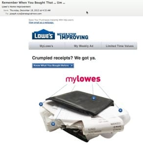 How Lowe's is Sustaining Customer Relationships SoLoMo  crumpled-receipt-email-292x300