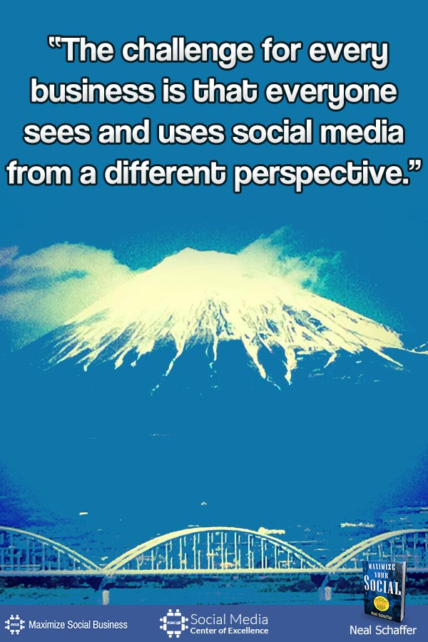 """""""The Challenge for Every Business is That Everyone Sees and Uses Social Media from a Different Perspective"""" ~ @NealSchaffer #quotes #socialmedia #socialmediaquotes"""