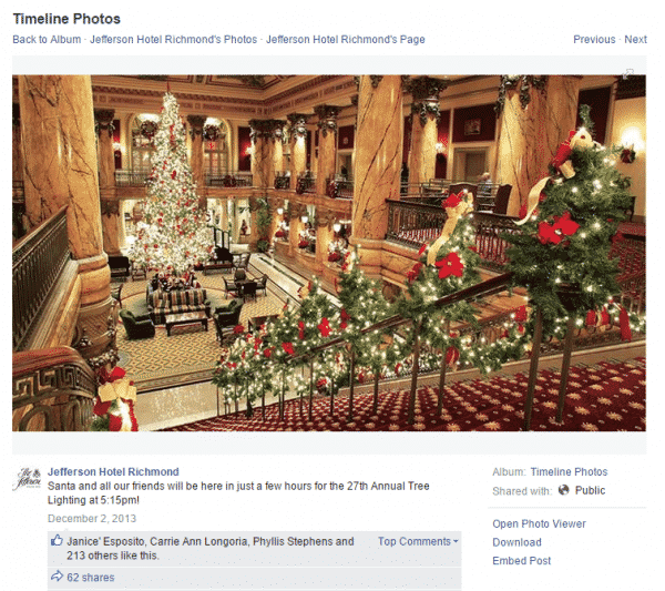 Elevate Your Holiday Marketing on Social Media Social Media for Hospitality  jefferson-hotel-treelighting-600x533