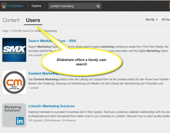 Slideshare user search