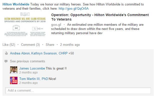 How the Hospitality Industry Can Leverage LinkedIn Social Media for Hospitality  hilton-veterans